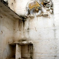 Wall decoration near temple entrance in Nimaaj, Rajasthan.